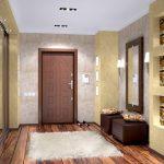 проходная комната с отделкой камнем и матовой стенкой картинка