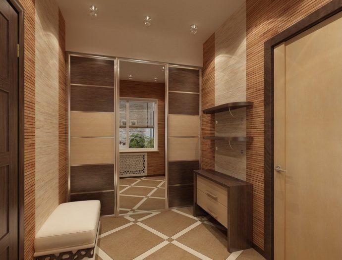 проходная комната с отделкой камнем и полуглянцевой стенкой фото