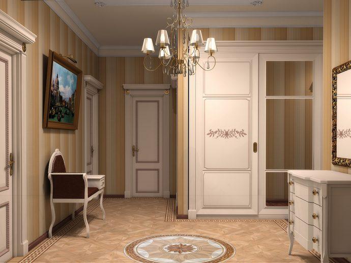 коридор с кирпичным декором и матовой стенкой фото