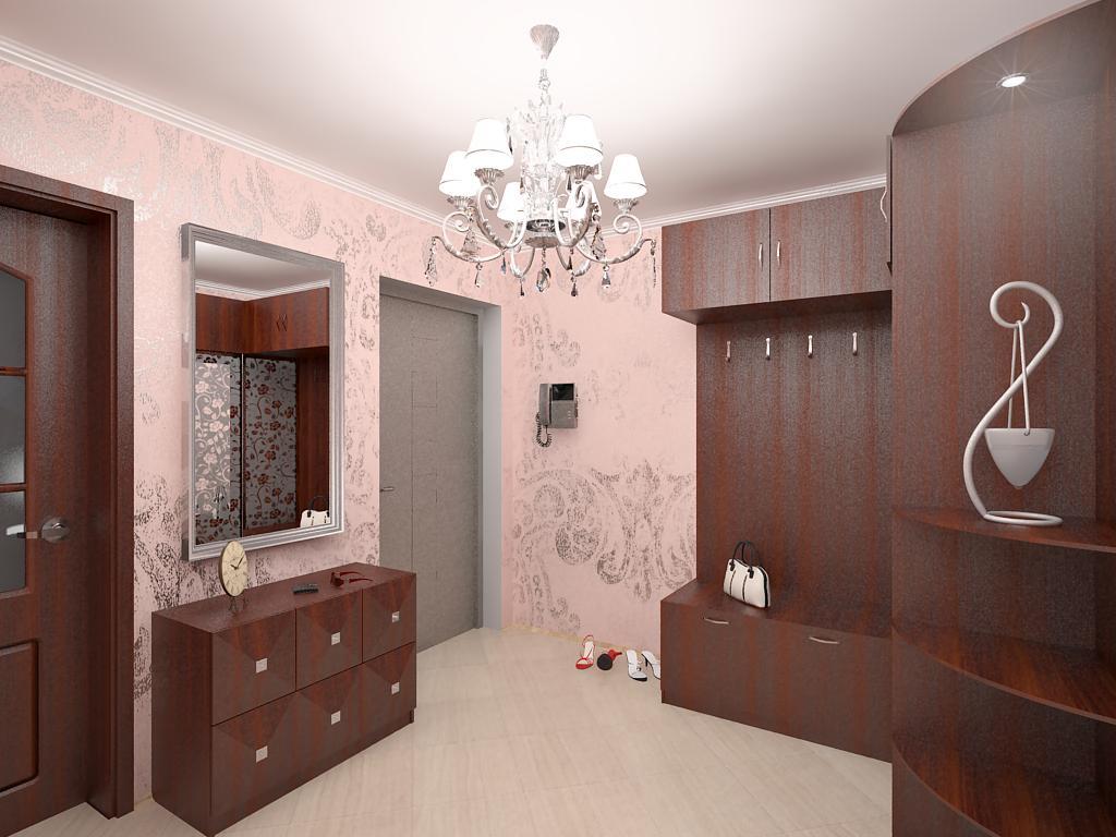 проходная комната с кирпичным декором и полуматовой стенкой