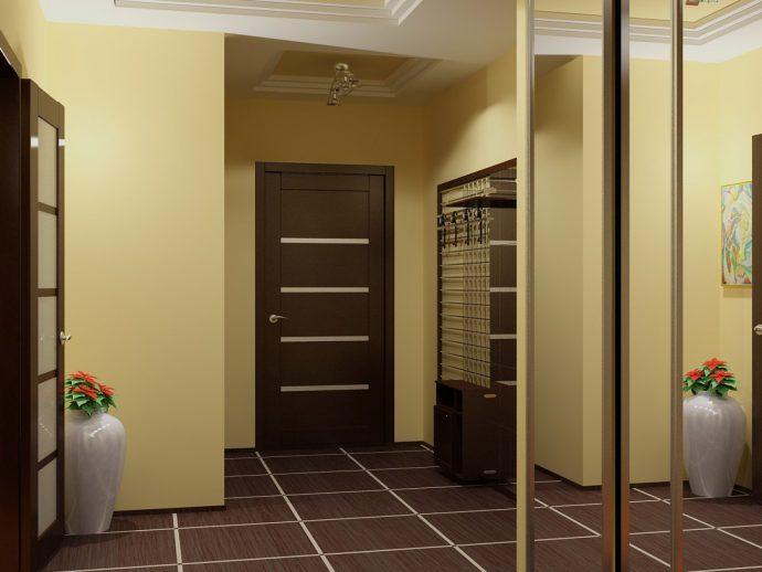 коридор с стеклообями и полуглянцевой стенкой фото
