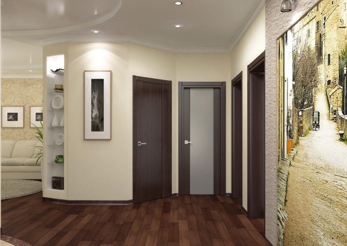 коридор с стеклообями и полуматовой стенкой