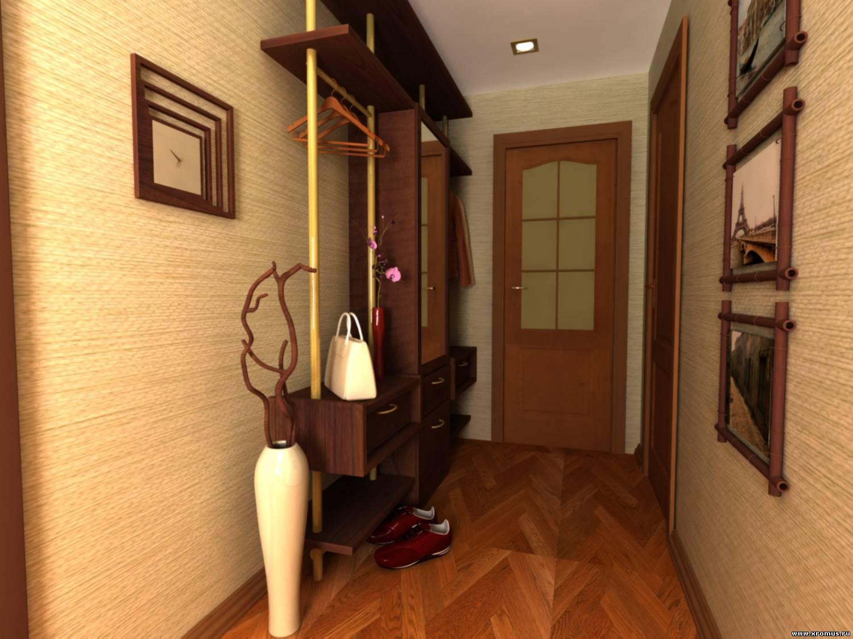 прихожая комната с кирпичным декором и глянцевой стенкой
