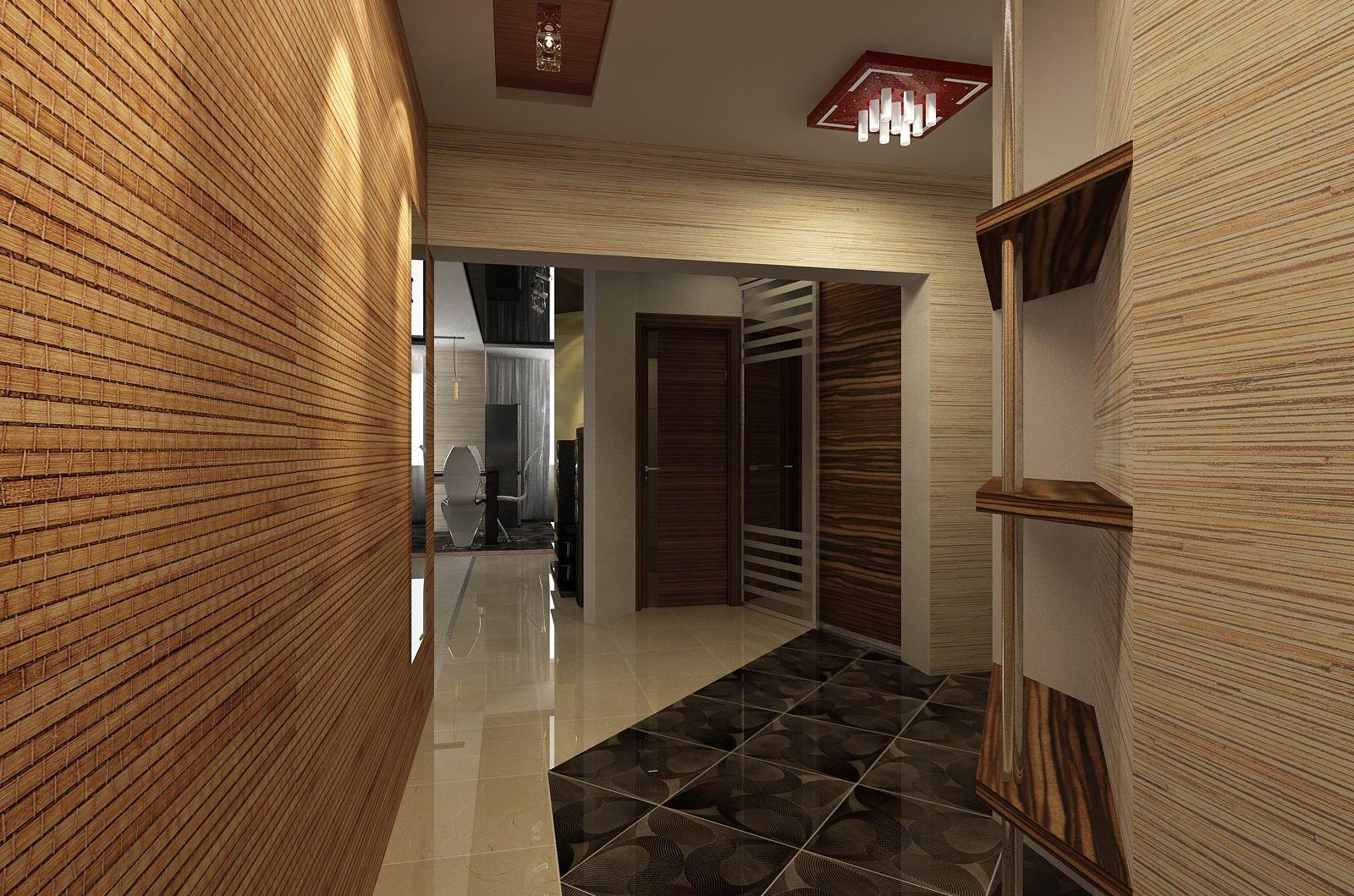 проходная комната с отделкой камнем и матовой стенкой