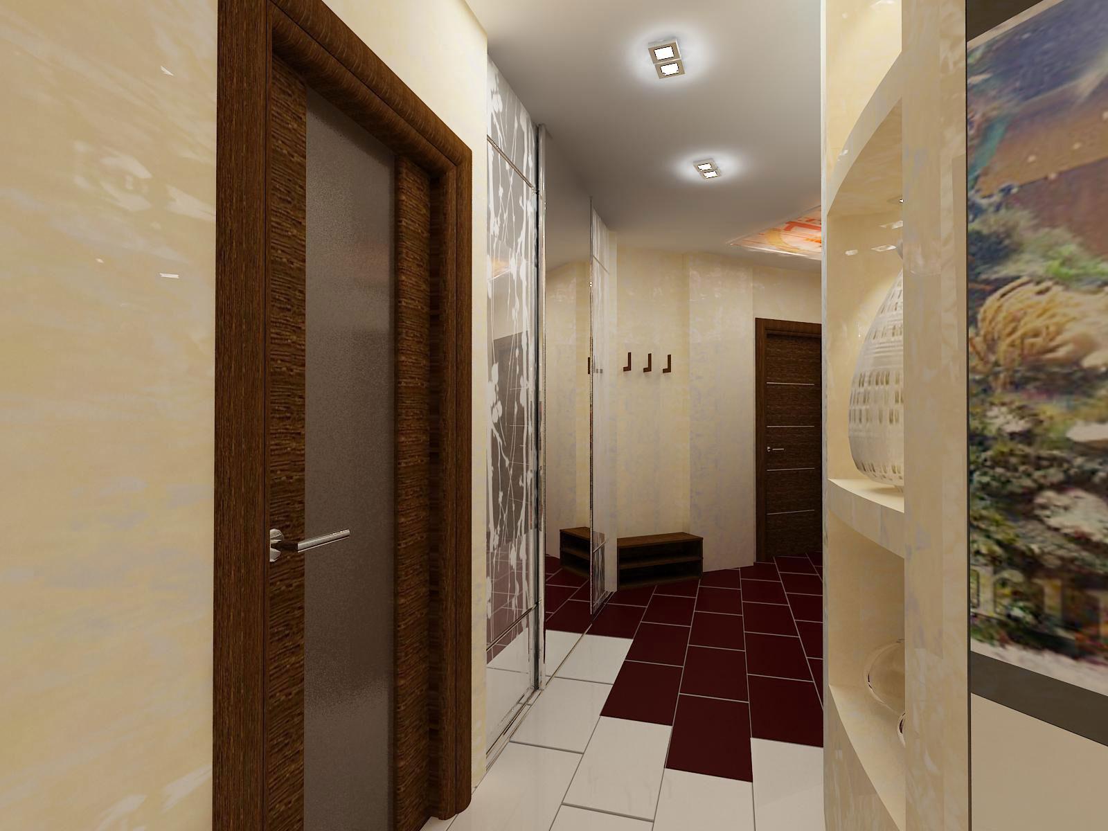 коридор с кирпичным декором и матовой стенкой