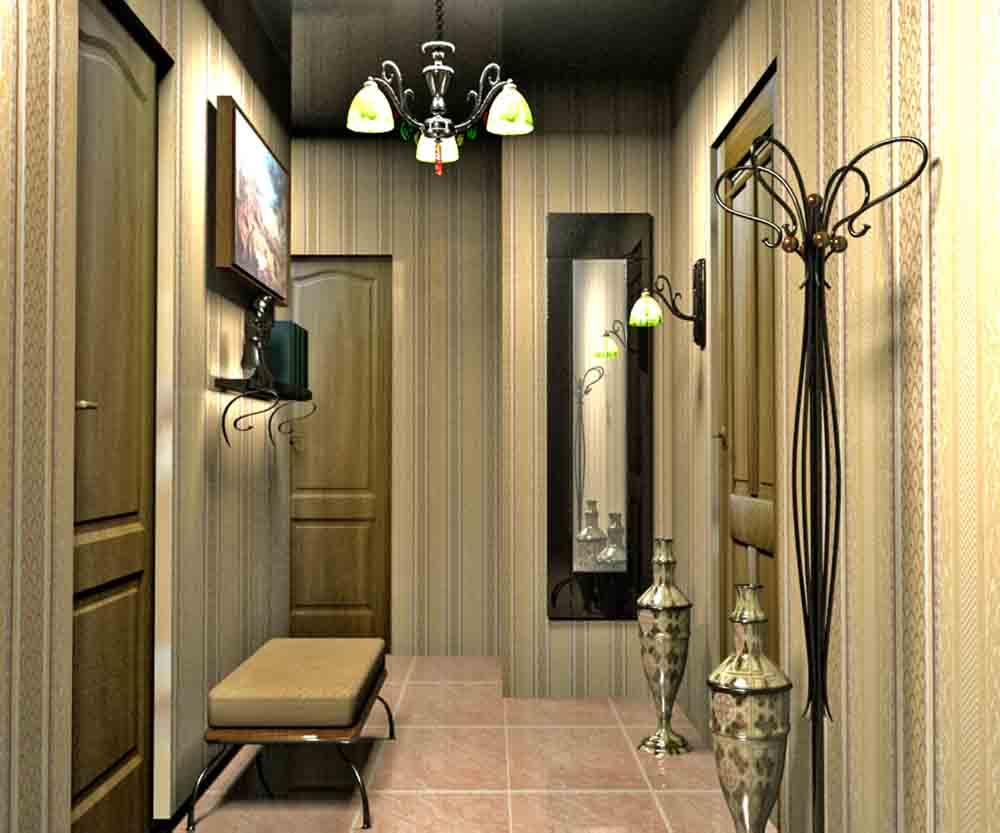 проходная комната с стеклообями и глянцевой стенкой