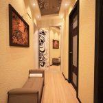 коридор с кирпичным декором и матовой стенкой картинка