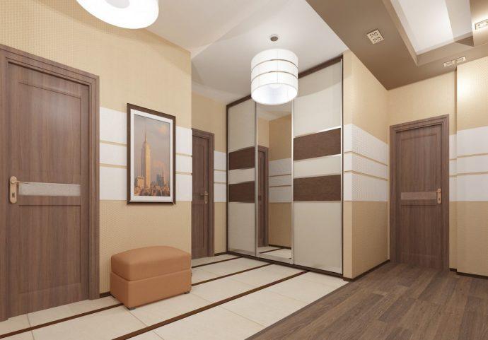 прихожая комната с отделкой камнем и глянцевой стенкой картинка