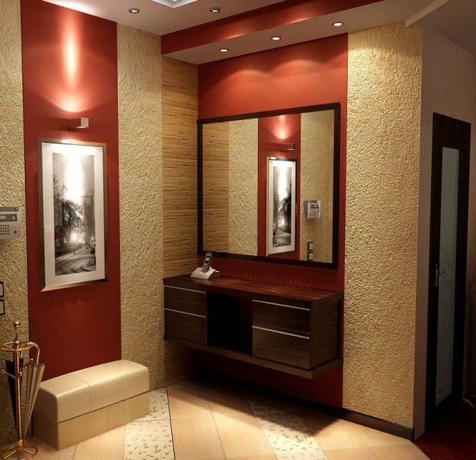 проходная комната с жидкими обоями и полуглянцевой стенкой фото