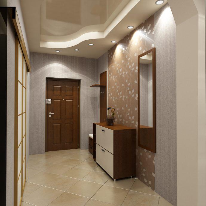 прихожая комната с кирпичным декором и глянцевой стенкой картинка