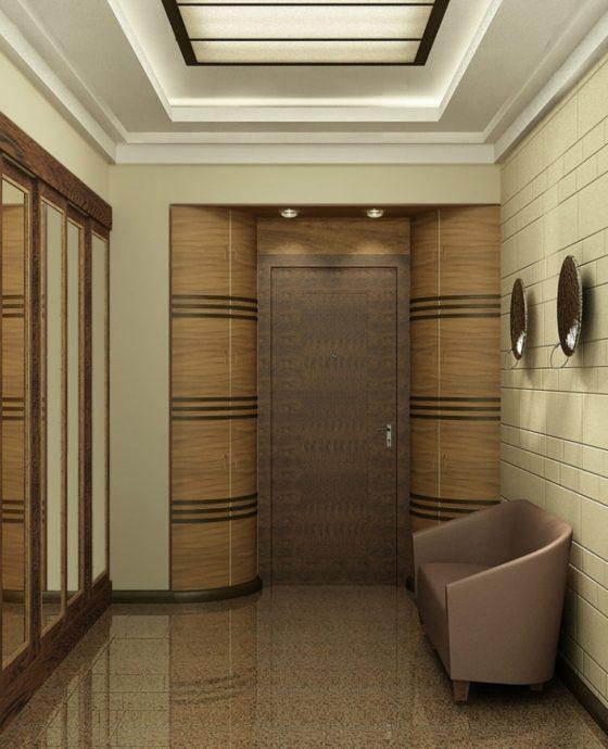 проходная комната с кирпичным декором и полуглянцевой стенкой картинка