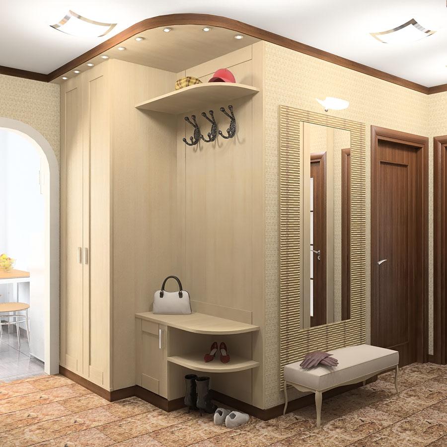 проходная комната с кирпичным декором и глянцевой стенкой