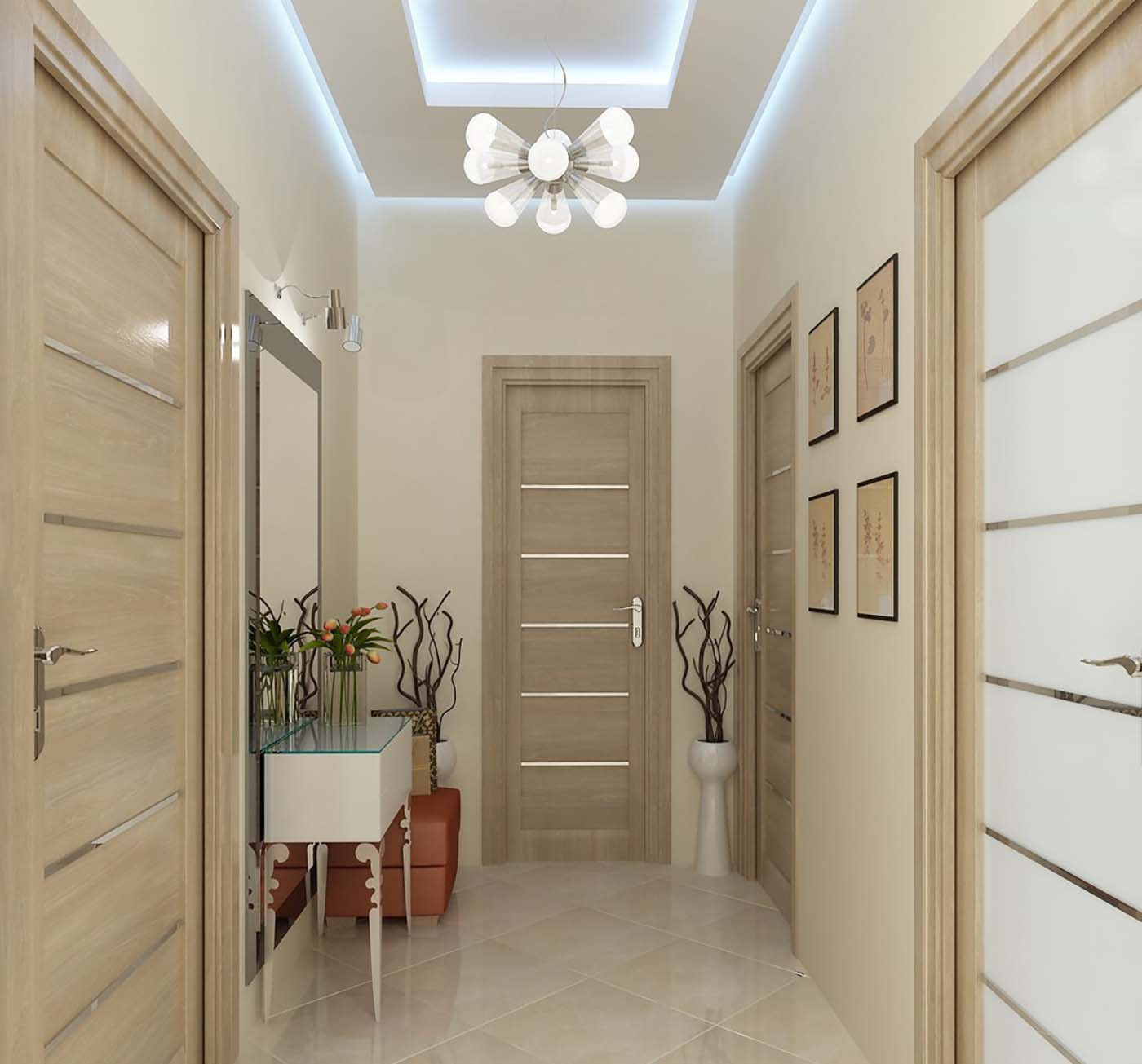 прихожая комната с кирпичным декором и матовой стенкой