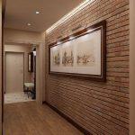 яркий дизайн проходной комнаты с отделкой фактурной штукатуркой