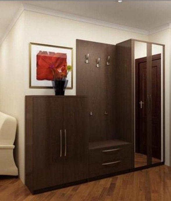 красивый интерьер прихожей комнаты с узким коридором