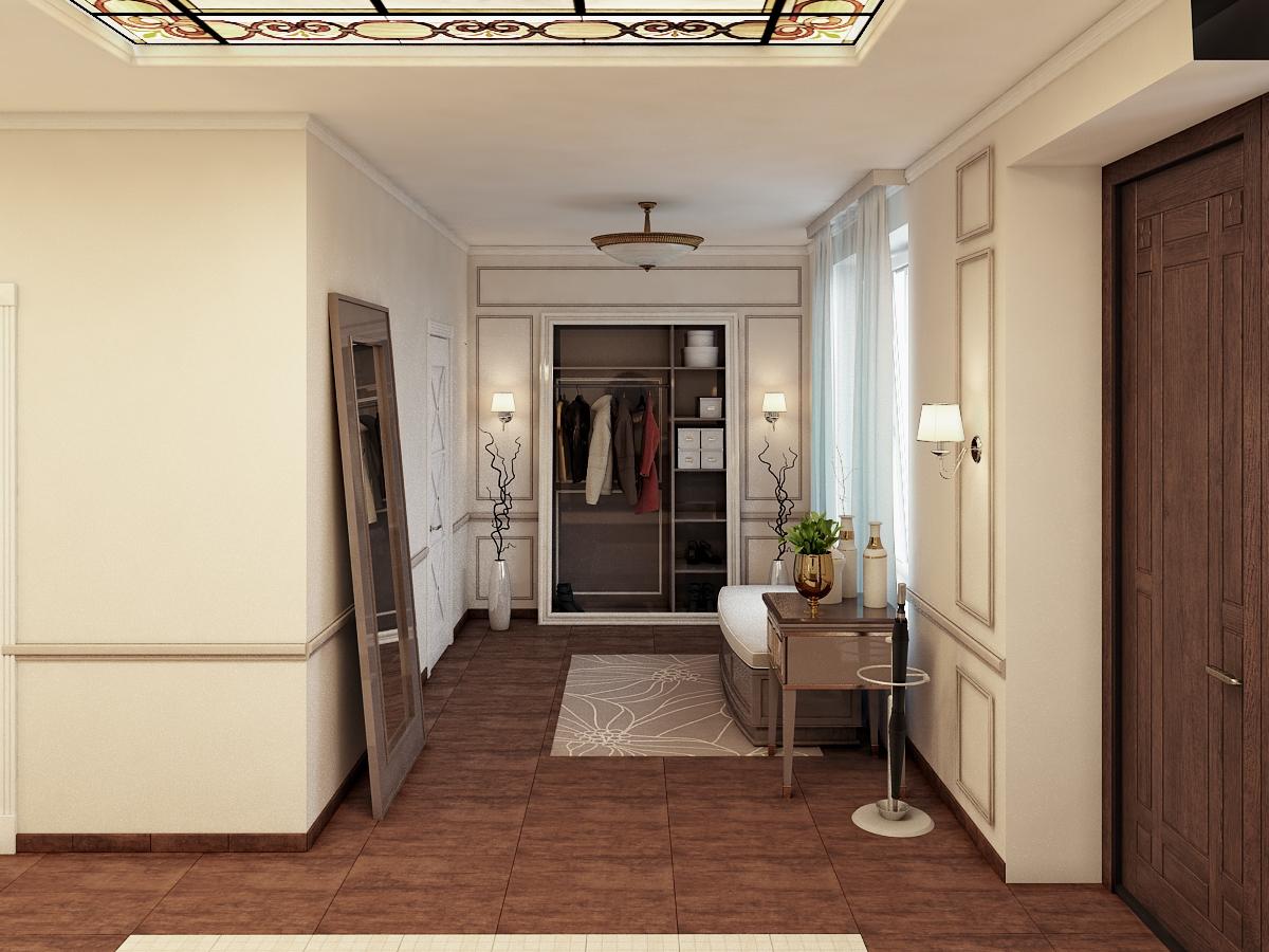 светлая коридор в классическом стиле дизайн