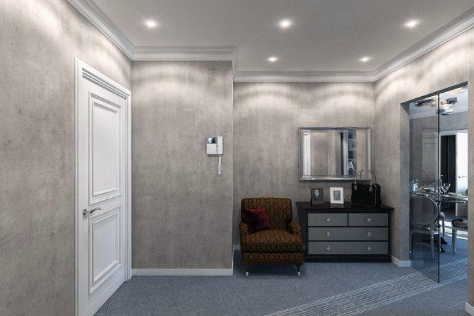 светлая отделка прихожей комнаты обои фото