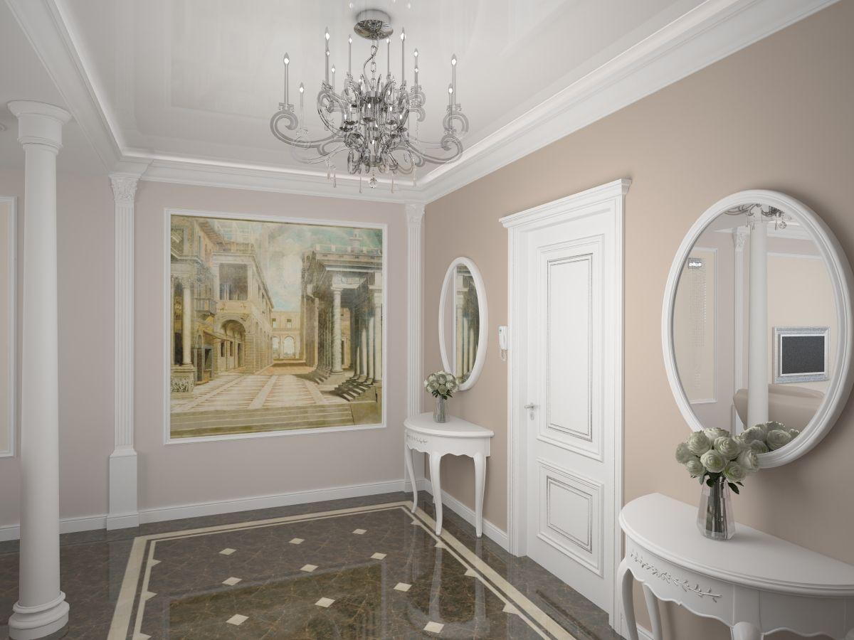 красивая коридор в классическом стиле