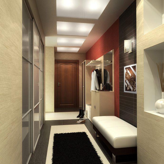 светлый дизайн маленькой прихожей комнаты в новом стиле фото