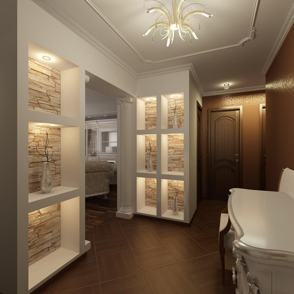 яркий интерьер маленькой прихожей комнаты в новом стиле
