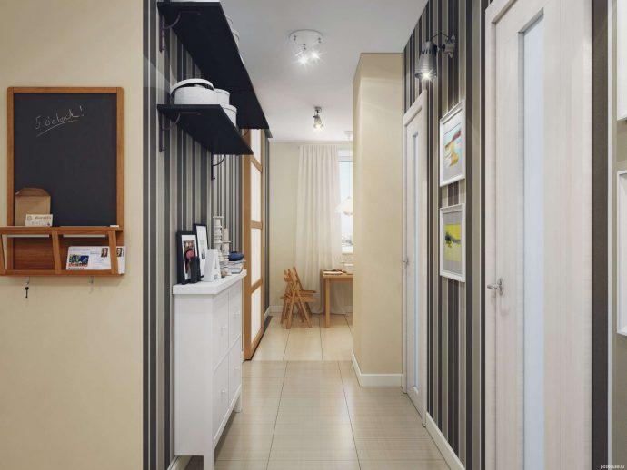 светлый дизайн прихожей комнаты с маленьким коридором фото