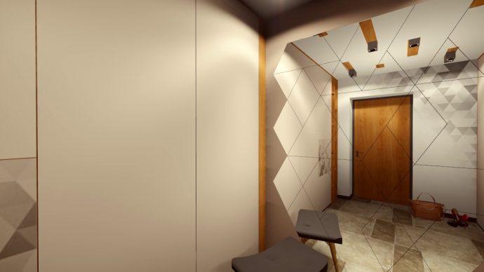 яркий дизайн маленького коридора в современном стиле фото