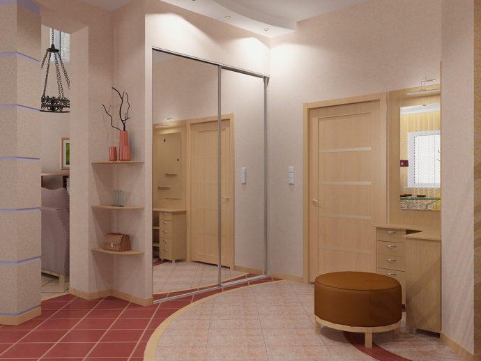 красивый дизайн прихожей комнаты с отделкой фактурной штукатуркой