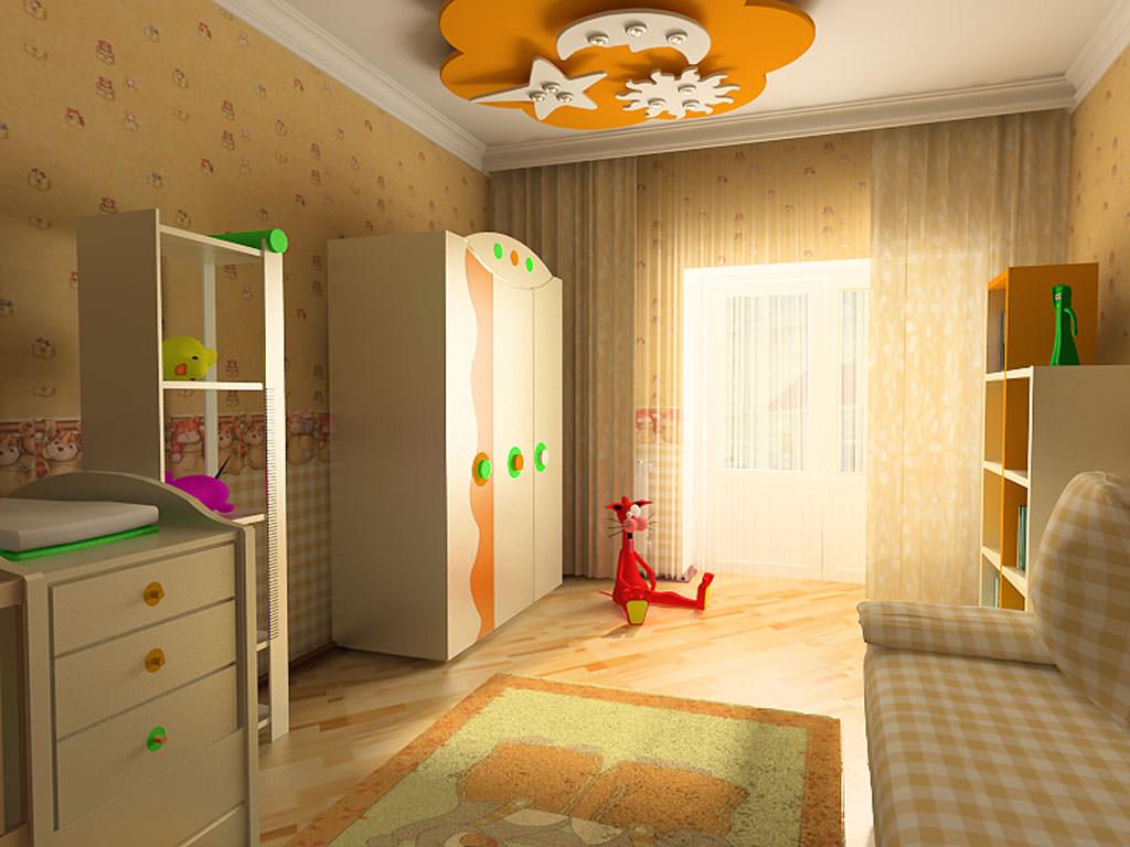 отражающий потолок с фотопечатью в игровой комнате