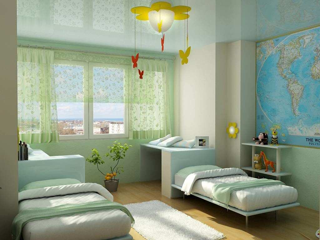 светлый натяжной потолок из пвх пленки в детской комнате