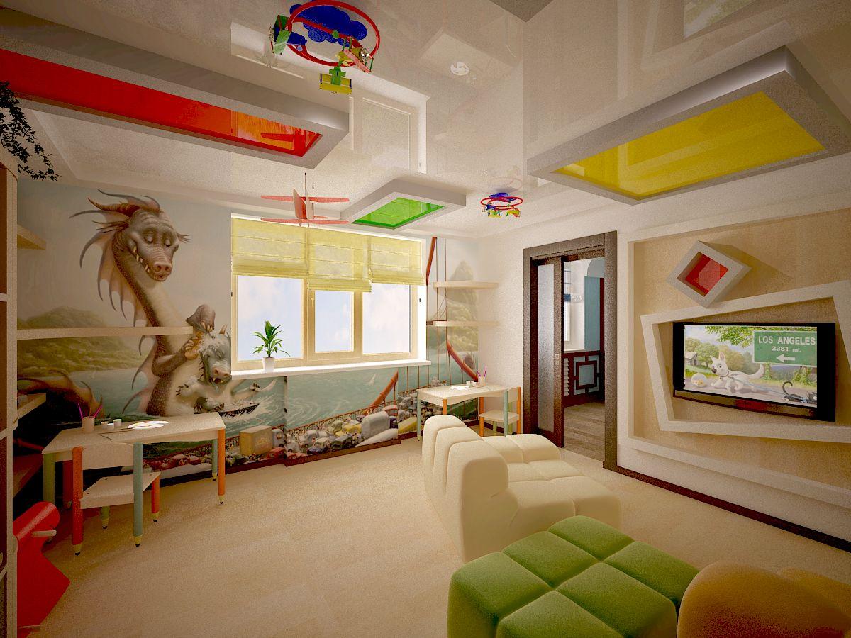 яркий натяжной потолок с фотопечатью в игровой