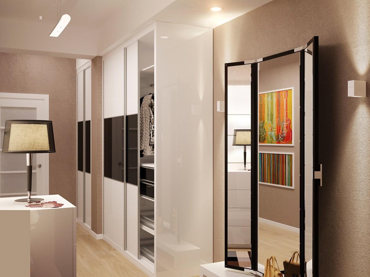 светлый дизайн маленькой прихожей комнаты в современном стиле