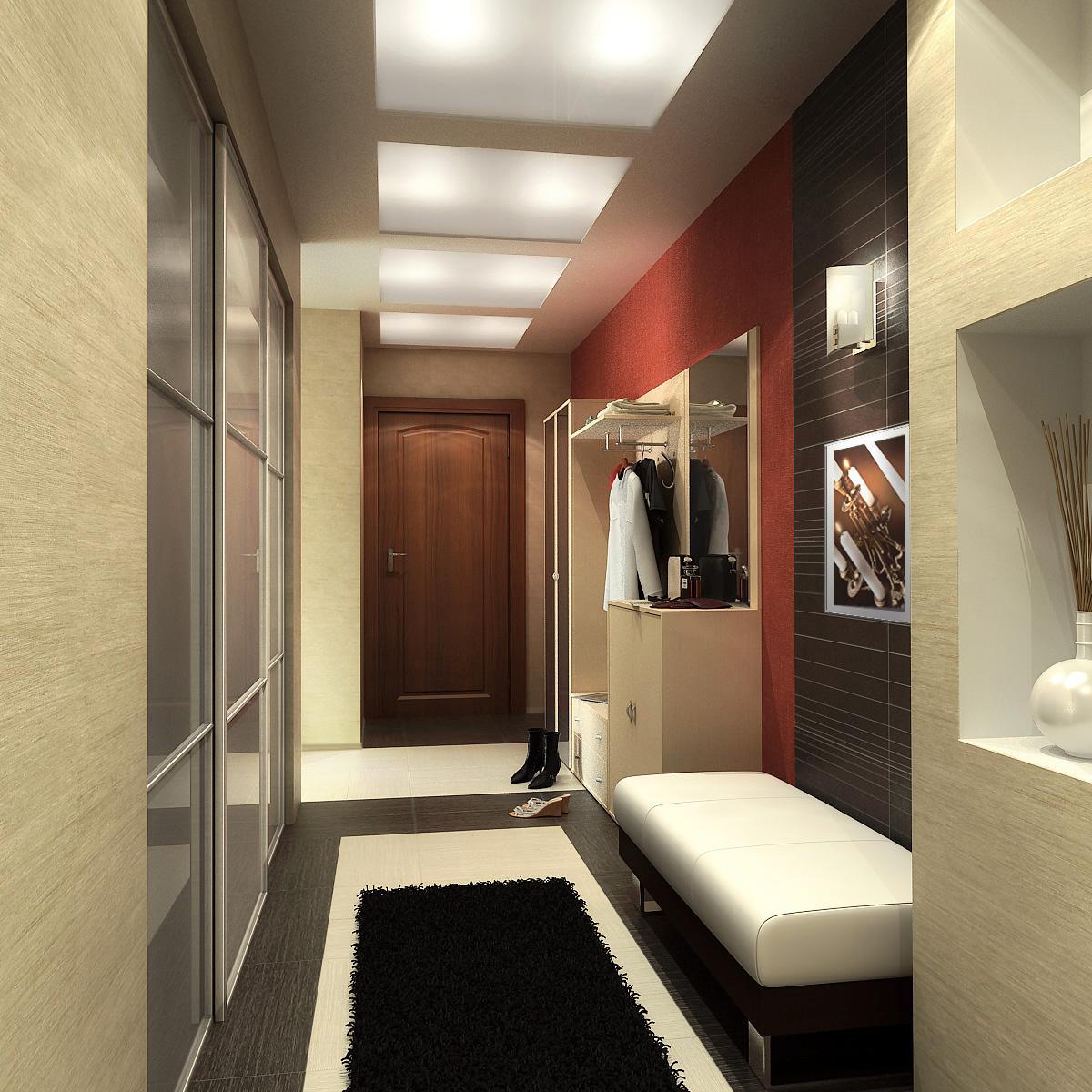 светлый стиль маленького коридора в новом стиле