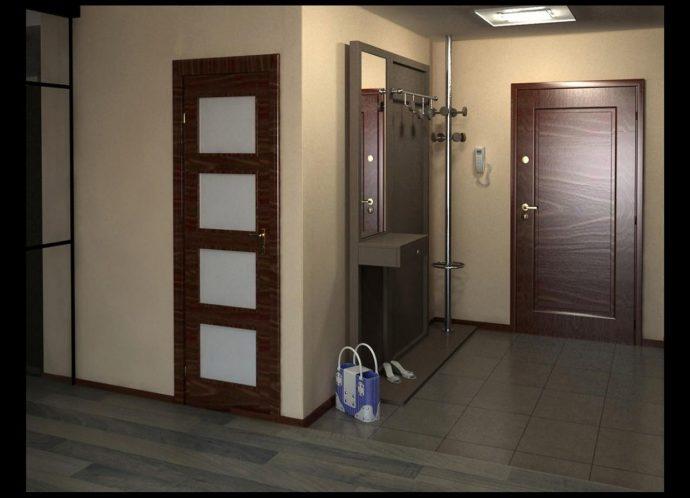 шикарный интерьер прихожей комнаты с узким коридором