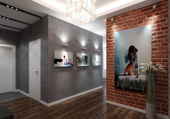 светлый интерьер маленького коридора в современном стиле картинка