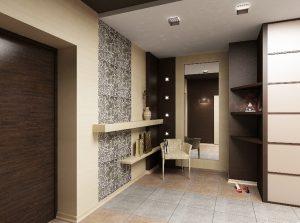 темная напольная плитка в прихожую комнату в стиле этно фото