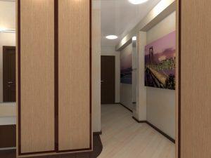 светлые обои в прихожую комнату в стиле эко под темную дверь картинка
