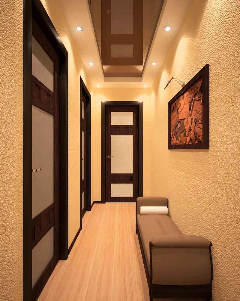 теплый стиль отделки проходной комнаты