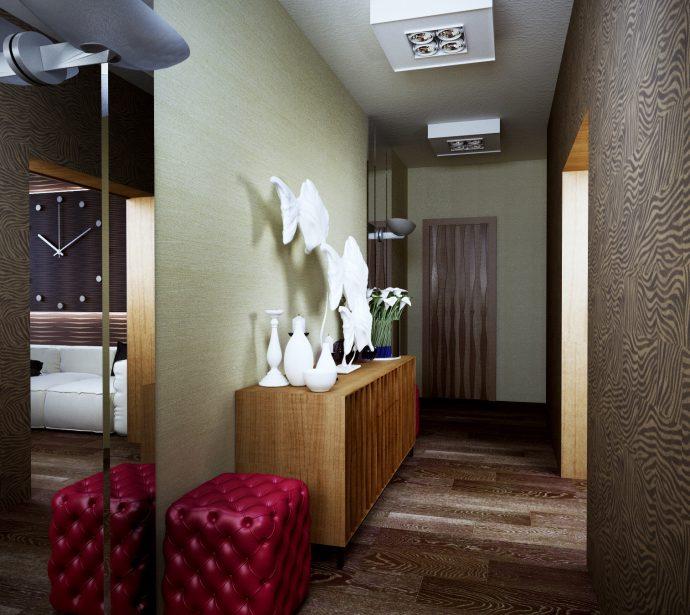 мягкий пуф с рундуком из массива дерева в проходную комнату картинка