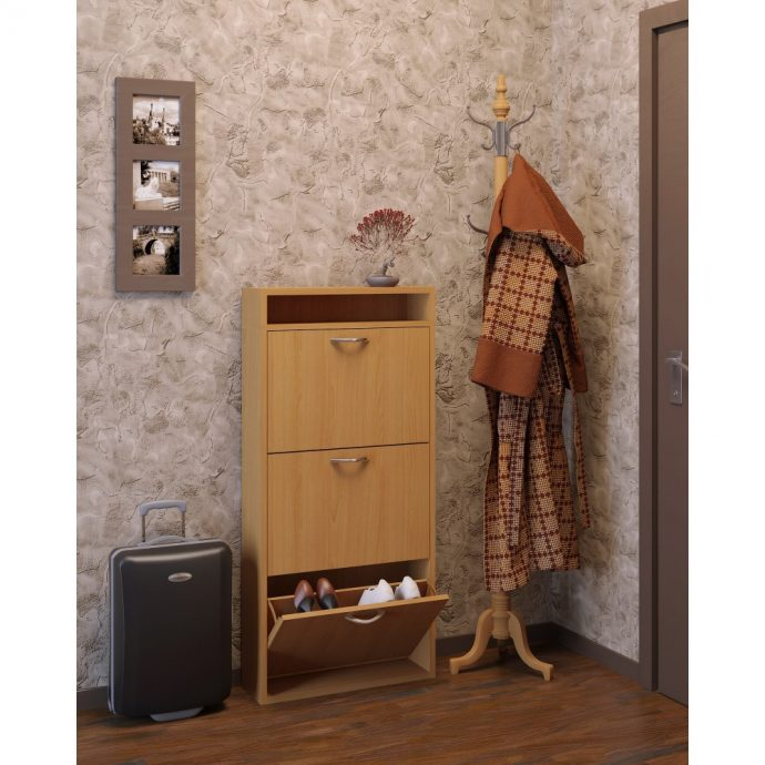 небольшая шкафчик для обуви из дерева в прихожую стиль