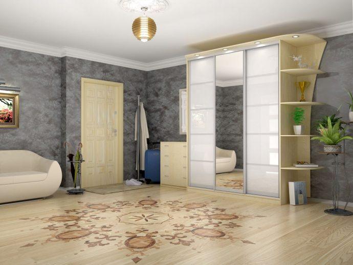 широкий шкаф купе в проходную комнату дизайн