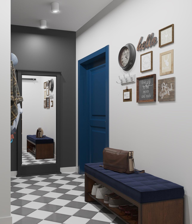 яркая прихожая комната в скандинавском дизайне