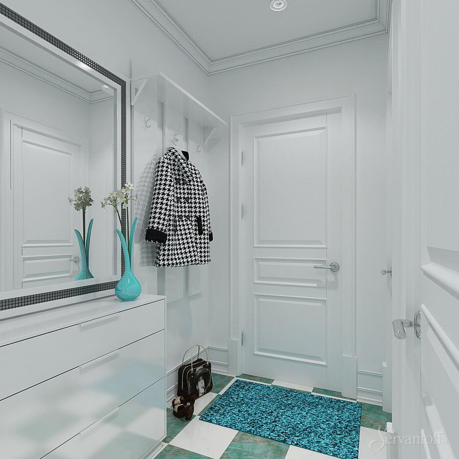 красивая проходная комната в скандинавском дизайне