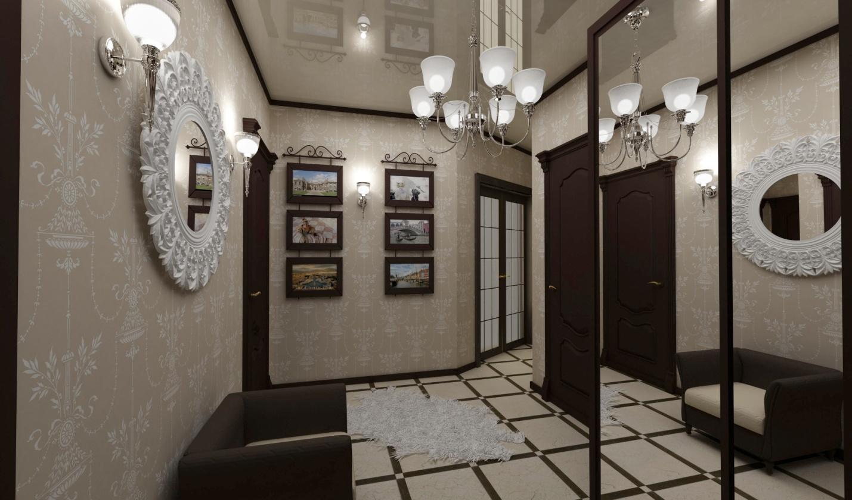 светлые обои в проходную комнату в стиле прованс под темную дверь
