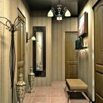 яркие обои в проходную комнату в стиле ретро под темную дверь картинка