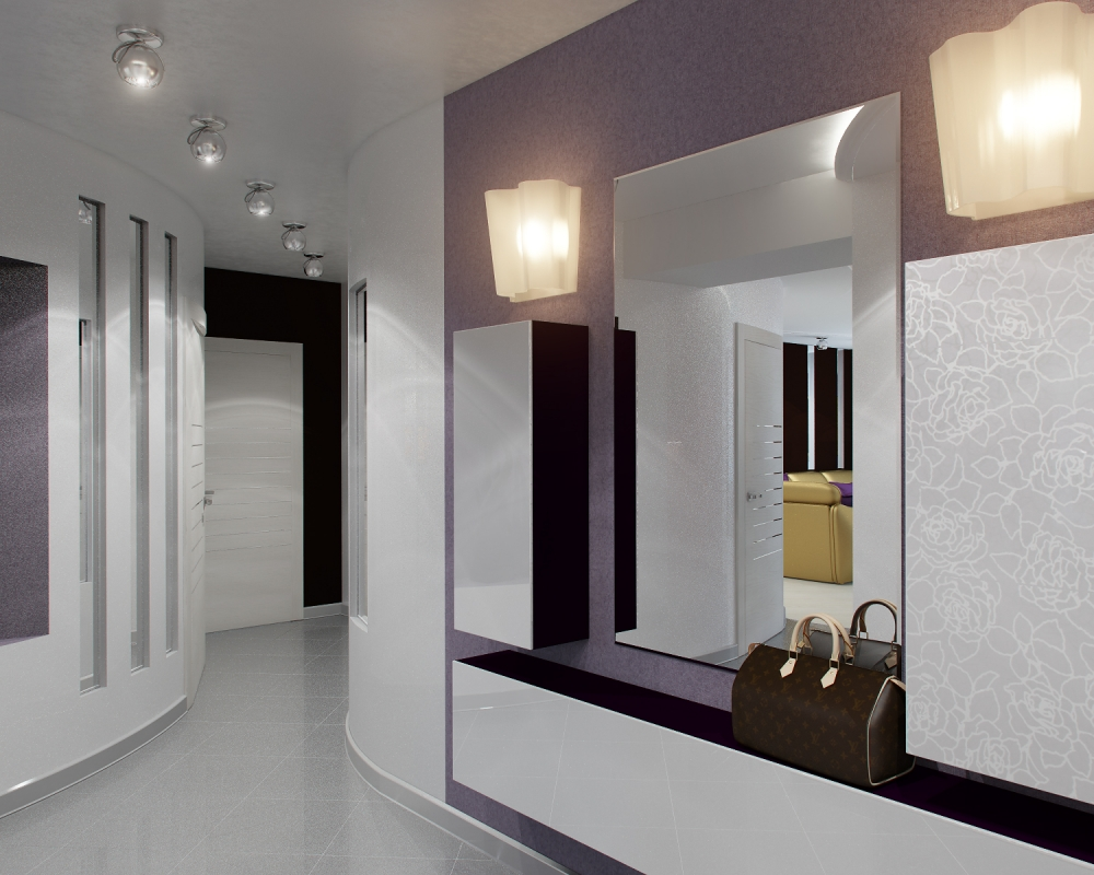 светлый стиль коридора в современном стиле