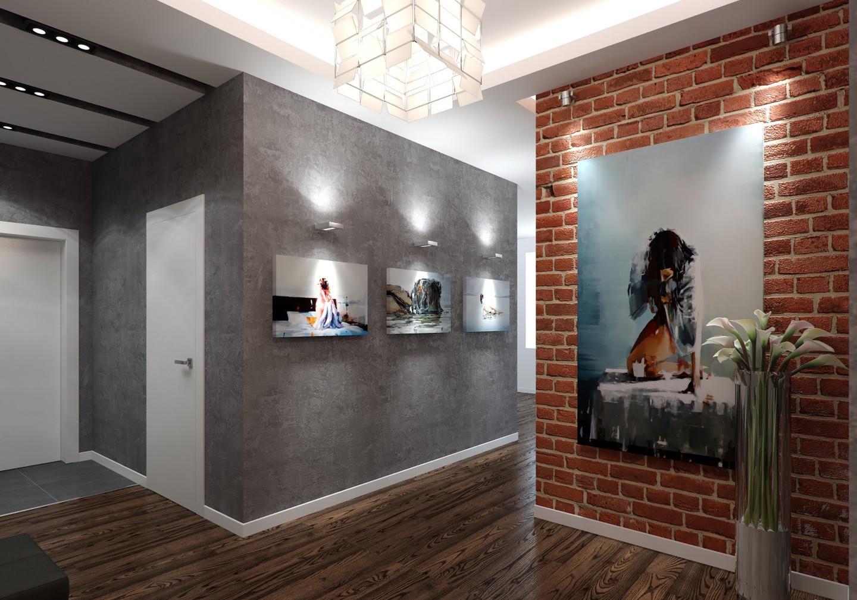 яркий дизайн прихожей комнаты в новом стиле