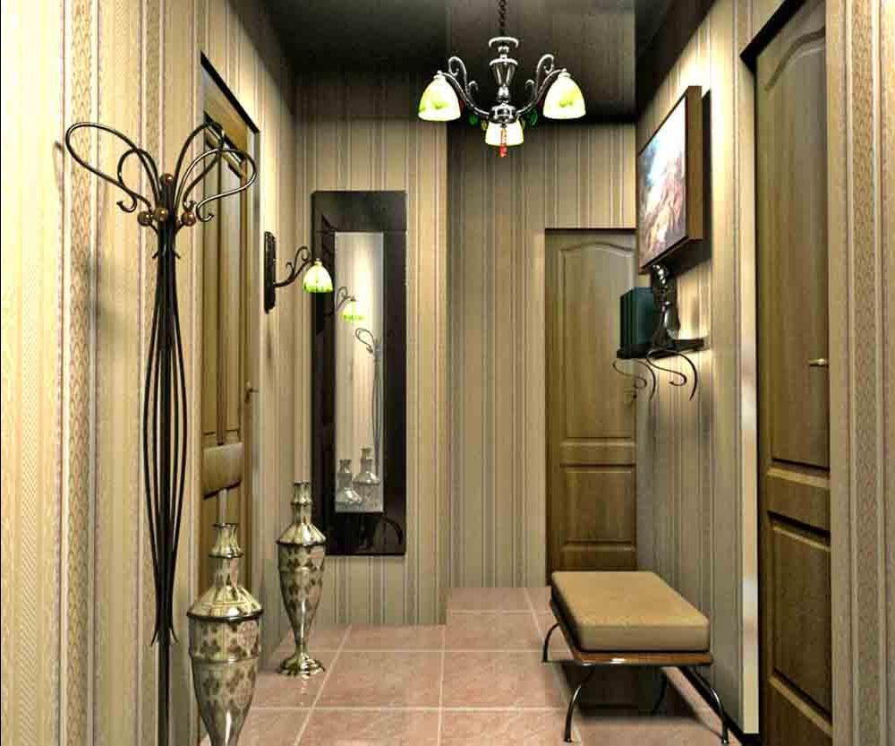 яркий стиль проходной с маленьким коридором