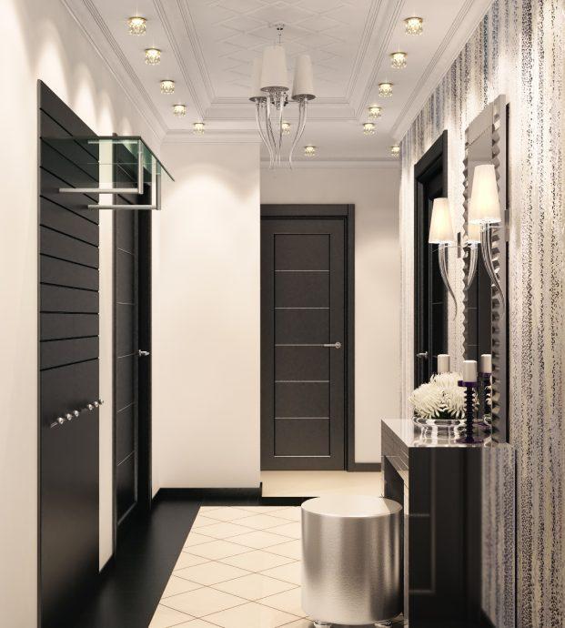 шикарный стиль прихожей комнаты с узким коридором