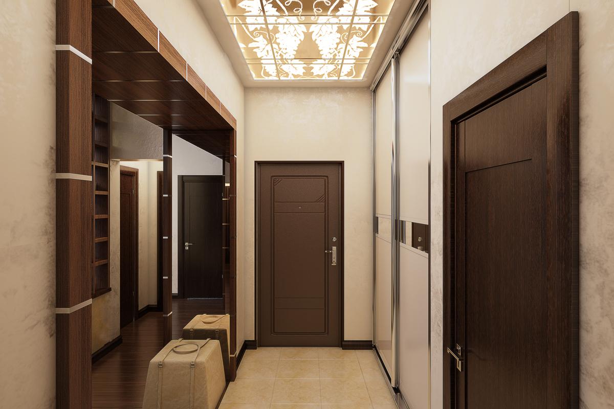 интересный дизайн прихожей с маленьким коридором