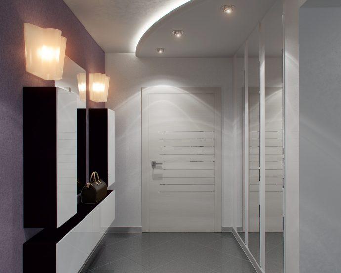 яркий интерьер маленького коридора в новом стиле фото